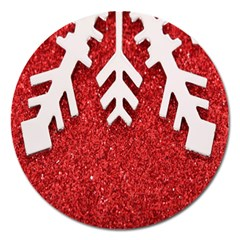 Macro Photo Of Snowflake On Red Glittery Paper Magnet 5  (round) by Nexatart