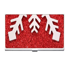 Macro Photo Of Snowflake On Red Glittery Paper Business Card Holders by Nexatart