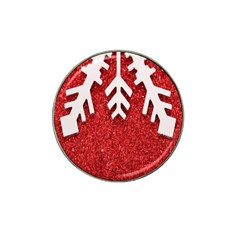 Macro Photo Of Snowflake On Red Glittery Paper Hat Clip Ball Marker (10 Pack) by Nexatart