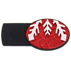 Macro Photo Of Snowflake On Red Glittery Paper Usb Flash Drive Oval (4 Gb)