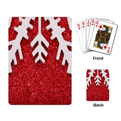 Macro Photo Of Snowflake On Red Glittery Paper Playing Card by Nexatart