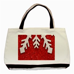 Macro Photo Of Snowflake On Red Glittery Paper Basic Tote Bag by Nexatart