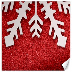 Macro Photo Of Snowflake On Red Glittery Paper Canvas 12  X 12   by Nexatart