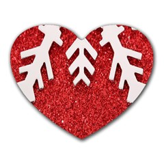 Macro Photo Of Snowflake On Red Glittery Paper Heart Mousepads by Nexatart