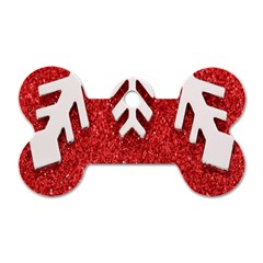 Macro Photo Of Snowflake On Red Glittery Paper Dog Tag Bone (two Sides) by Nexatart