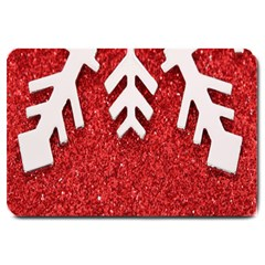 Macro Photo Of Snowflake On Red Glittery Paper Large Doormat  by Nexatart