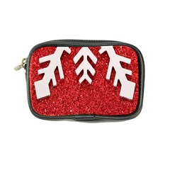 Macro Photo Of Snowflake On Red Glittery Paper Coin Purse