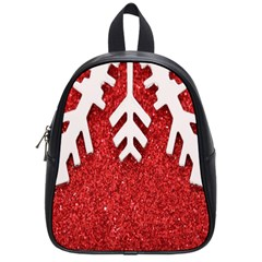 Macro Photo Of Snowflake On Red Glittery Paper School Bags (small)  by Nexatart