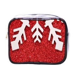 Macro Photo Of Snowflake On Red Glittery Paper Mini Toiletries Bags by Nexatart