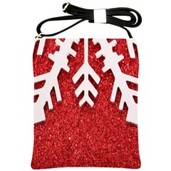 Macro Photo Of Snowflake On Red Glittery Paper Shoulder Sling Bags by Nexatart