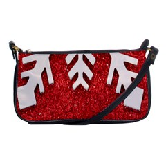 Macro Photo Of Snowflake On Red Glittery Paper Shoulder Clutch Bags by Nexatart