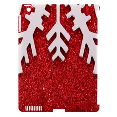 Macro Photo Of Snowflake On Red Glittery Paper Apple Ipad 3/4 Hardshell Case (compatible With Smart Cover) by Nexatart