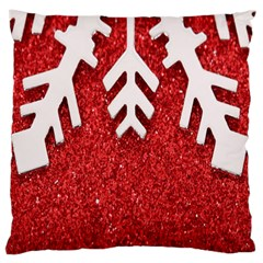 Macro Photo Of Snowflake On Red Glittery Paper Large Cushion Case (two Sides) by Nexatart