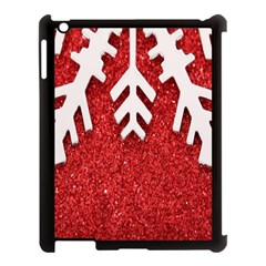Macro Photo Of Snowflake On Red Glittery Paper Apple Ipad 3/4 Case (black)
