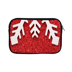 Macro Photo Of Snowflake On Red Glittery Paper Apple Ipad Mini Zipper Cases by Nexatart