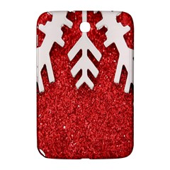 Macro Photo Of Snowflake On Red Glittery Paper Samsung Galaxy Note 8 0 N5100 Hardshell Case  by Nexatart