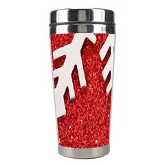 Macro Photo Of Snowflake On Red Glittery Paper Stainless Steel Travel Tumblers