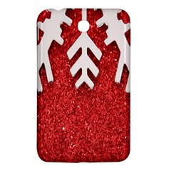 Macro Photo Of Snowflake On Red Glittery Paper Samsung Galaxy Tab 3 (7 ) P3200 Hardshell Case  by Nexatart