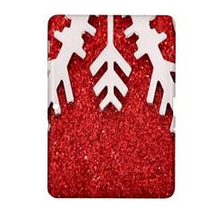 Macro Photo Of Snowflake On Red Glittery Paper Samsung Galaxy Tab 2 (10 1 ) P5100 Hardshell Case