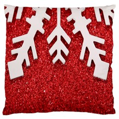 Macro Photo Of Snowflake On Red Glittery Paper Large Flano Cushion Case (two Sides) by Nexatart