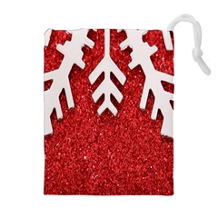 Macro Photo Of Snowflake On Red Glittery Paper Drawstring Pouches (extra Large) by Nexatart