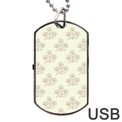 Seamless Floral Pattern Dog Tag Usb Flash (one Side) by TastefulDesigns
