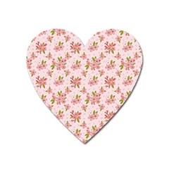 Beautiful Hand Drawn Flowers Pattern Heart Magnet by TastefulDesigns