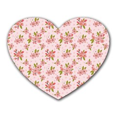 Beautiful Hand Drawn Flowers Pattern Heart Mousepads by TastefulDesigns