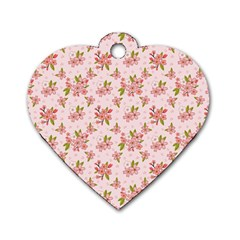 Beautiful Hand Drawn Flowers Pattern Dog Tag Heart (two Sides) by TastefulDesigns
