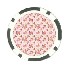 Beautiful Hand Drawn Flowers Pattern Poker Chip Card Guard by TastefulDesigns