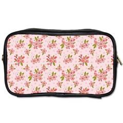 Beautiful Hand Drawn Flowers Pattern Toiletries Bags 2 Side by TastefulDesigns