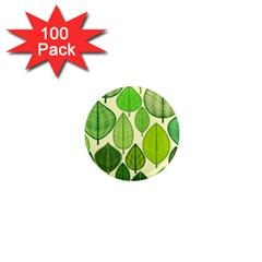 Leaves Pattern Design 1  Mini Magnets (100 Pack)  by TastefulDesigns