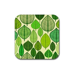 Leaves Pattern Design Rubber Coaster (square)  by TastefulDesigns