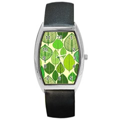 Leaves Pattern Design Barrel Style Metal Watch by TastefulDesigns