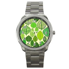 Leaves Pattern Design Sport Metal Watch by TastefulDesigns