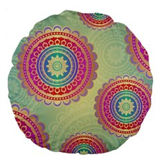 Abstract Geometric Wheels Pattern Large 18  Premium Flano Round Cushions by LovelyDesigns4U