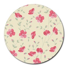 Seamless Flower Pattern Round Mousepads by TastefulDesigns