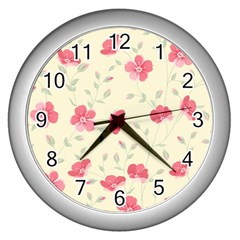 Seamless Flower Pattern Wall Clocks (silver)  by TastefulDesigns