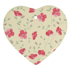 Seamless Flower Pattern Heart Ornament (two Sides) by TastefulDesigns