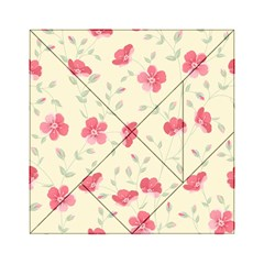 Seamless Flower Pattern Acrylic Tangram Puzzle (6  X 6 ) by TastefulDesigns