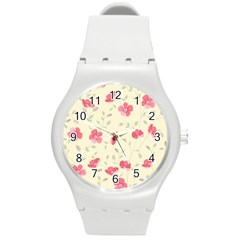 Seamless Flower Pattern Round Plastic Sport Watch (m) by TastefulDesigns