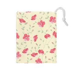 Seamless Flower Pattern Drawstring Pouches (large)  by TastefulDesigns