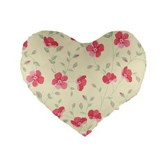 Seamless Flower Pattern Standard 16  Premium Flano Heart Shape Cushions by TastefulDesigns