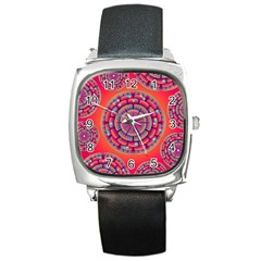 Pretty Floral Geometric Pattern Square Metal Watch by LovelyDesigns4U