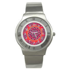 Pretty Floral Geometric Pattern Stainless Steel Watch by LovelyDesigns4U