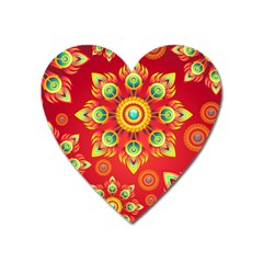 Red And Orange Floral Geometric Pattern Heart Magnet by LovelyDesigns4U
