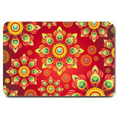 Red And Orange Floral Geometric Pattern Large Doormat  by LovelyDesigns4U