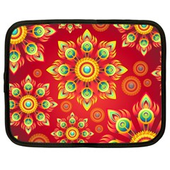 Red And Orange Floral Geometric Pattern Netbook Case (xl)  by LovelyDesigns4U