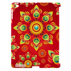 Red And Orange Floral Geometric Pattern Apple Ipad 3/4 Hardshell Case (compatible With Smart Cover) by LovelyDesigns4U