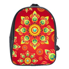 Red And Orange Floral Geometric Pattern School Bags (xl)  by LovelyDesigns4U